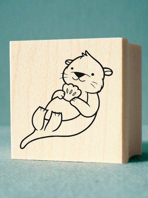 Otter Rubber Stamp  wood mounted deep etched red rubber by nikoart, $5.00
