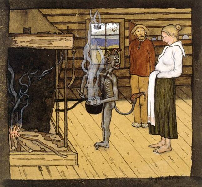 Devil by the Pot, 1897, watercolor by Hugo Simberg, 1873-1917, Finnish Symbolist painter, graphic artist and photographer.