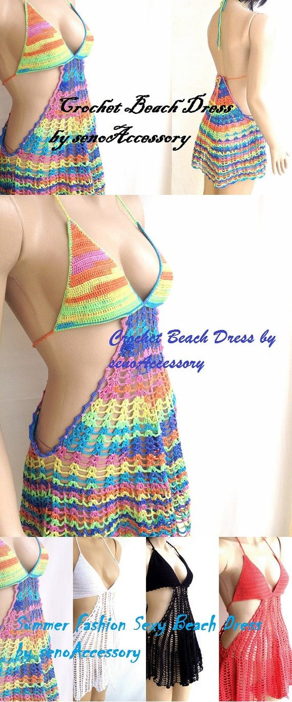 Summer Multicolor Dress Crochet Beach Dress Cover Up Tunic Lace Crochet Dress Women Fashion Dress Rainbow Dress Beach Fashion senoAccessory