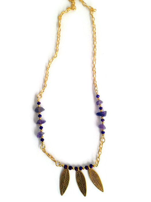 Boho Gold Leaf Purple Rhinestone and Amethyst by IZZIEandOLIN