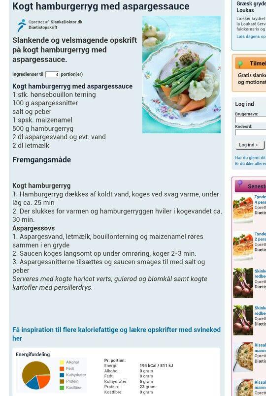 Kogt hamburgerryg m. aspargessauce
