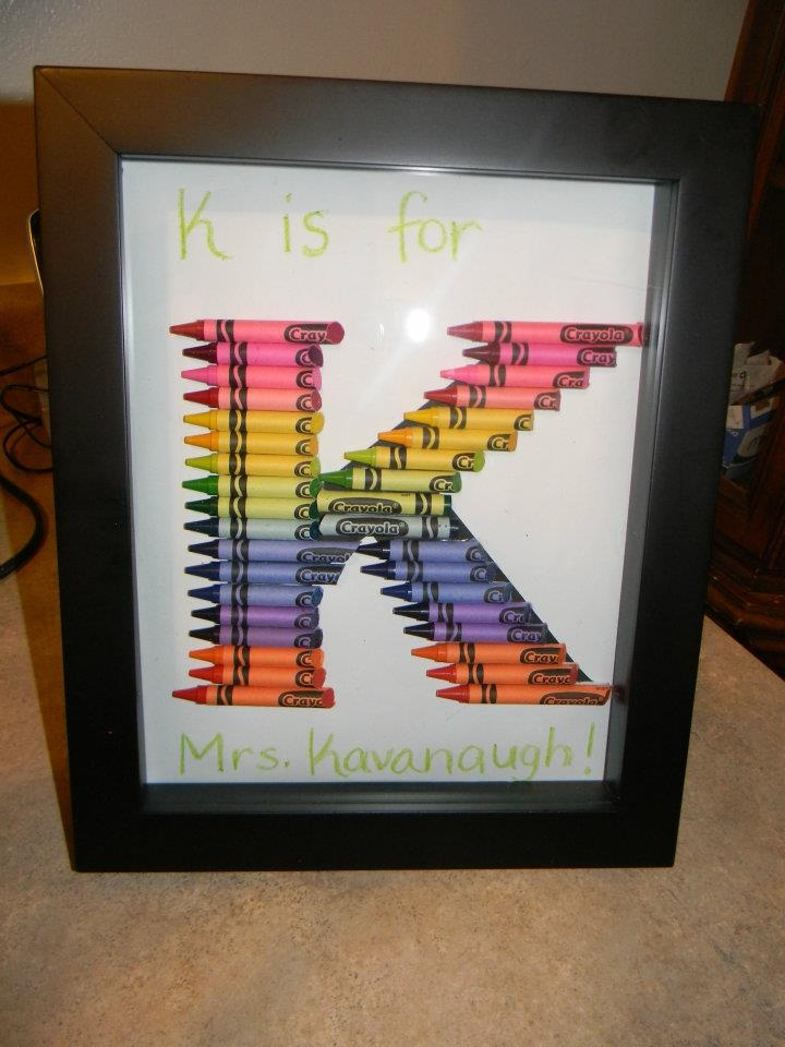 Letter K Crayon Monogram!  Our project we did for my daughters Kindergarten teacher!