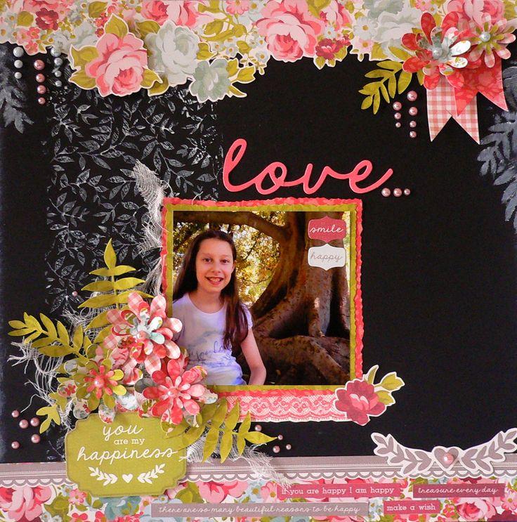 'Love' inspired layout by Adriana Bolzon using 'Secret Garden' by Kaisercraft - Wendy Schultz ~ Scrapbook Pages 3.