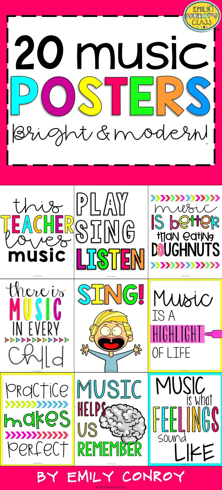 This product contains 20 bright and modern music posters. These posters are perfect for hanging at home or for an addition to your music classroom decor!