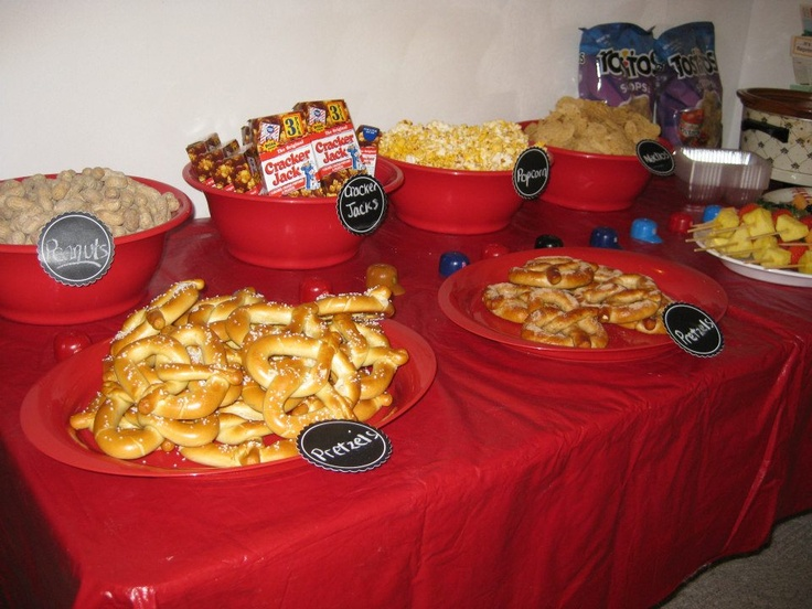 Close-up of our concession stand snack food set up during ...