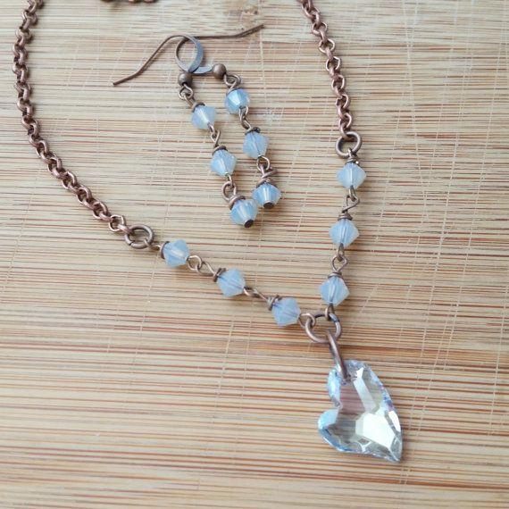 Crystal heart necklace  Swarovski heart by WanderlustHeartShop