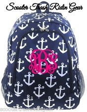 Personalized Backpack Anchor Navy white monogram book bag school tote monogram
