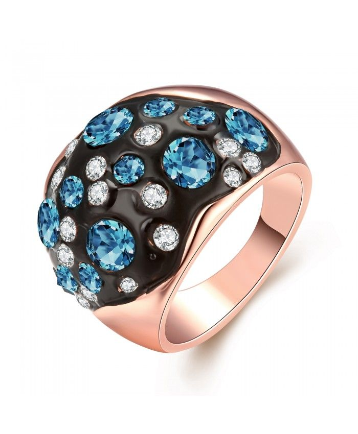 Ouruora Black Enamel With Blue and White Rhinestone Ring