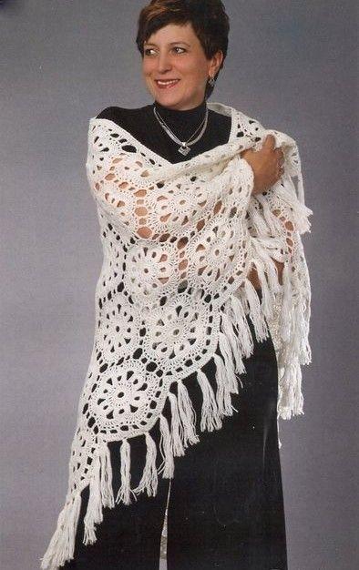 Eva s Shawl Crochet Pattern : White flowers, Free crochet and Shawl on Pinterest