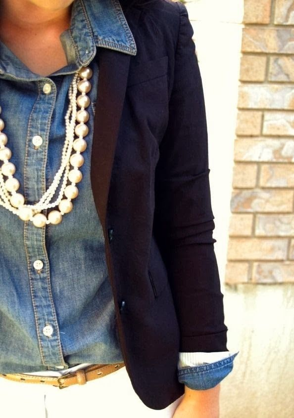 New fashion trend with chambray, pearls and navy blazer