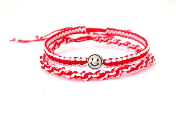 Martis red and white macrame bracelet wth by beYOUtifulhandmade, $10.00