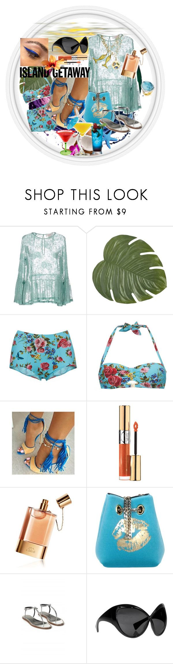 """#islandgetaway"" by dominique-boiche ❤ liked on Polyvore featuring jucca, Pier 1 Imports, Dolce&Gabbana, Yves Saint Laurent, Chloé, La Fille Des Fleurs, TIBI, Tom Ford, TIKI and BYSISKA2017"