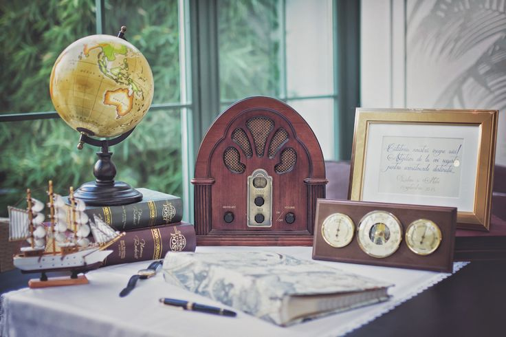 Perfect guestbook corner for elegant travel themed wedding.