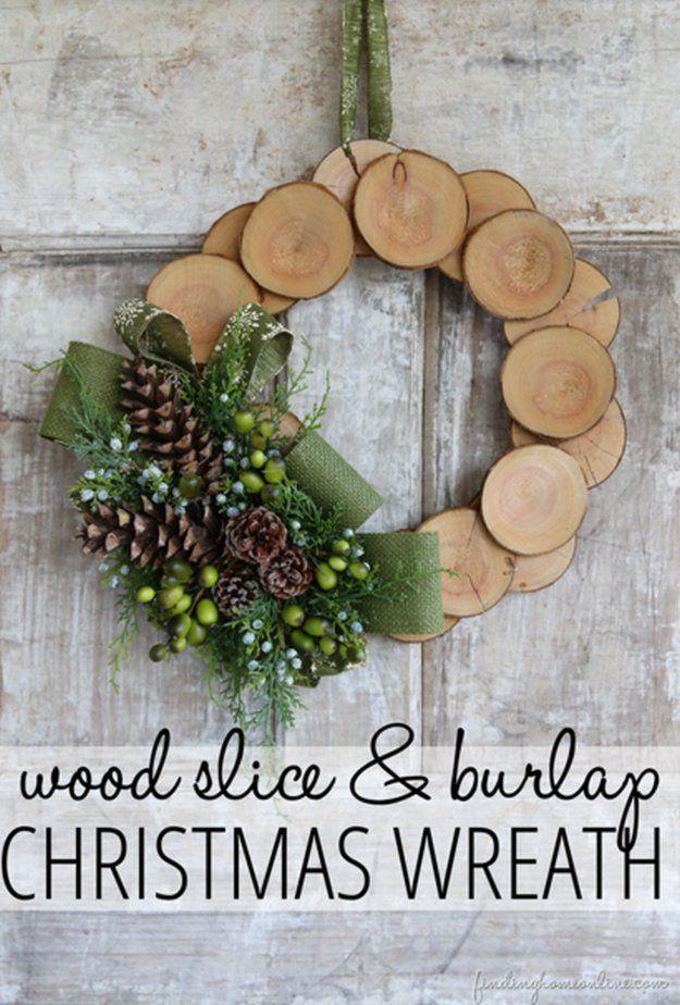 Wood Slice & Burlap Christmas Wreath | DIY Christmas Wreaths | Holiday Creative DIY Wreath Ideas, see more at: https://diyprojects.com/diy-christmas-wreaths-front-door-wreath-ideas-you-will-love/