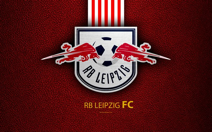 Download wallpapers RB Leipzig FC, 4k, German football club, Bundesliga, leather texture, emblem, logo, Leipzig, Germany, German Football Championships