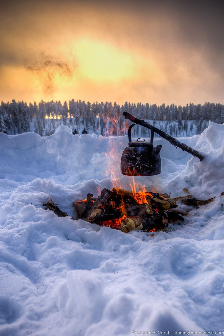 Having winter campfires in northern Finland - Visiting Finland in Winter: Top 15 Winter Activities in Finland