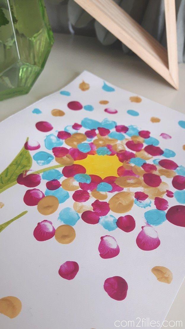 Activite Enfant Une Peinture Au Doigt Pour Realiser Une Fleur Peinture Au Doigt Activite Enfant Et Enfant