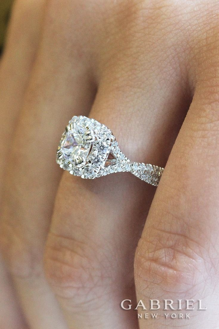 14k White Gold/ Rose Gold Cushion Cut Halo Engagement Ring