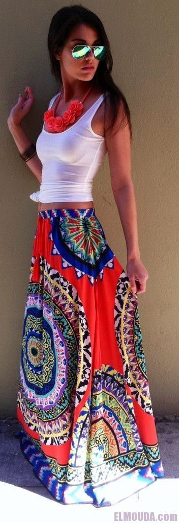 White tank and long colorful maxi skirt                                                                                                                                                      More