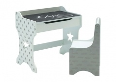 Cars desk with blackboard top and stars cutouts with chair.