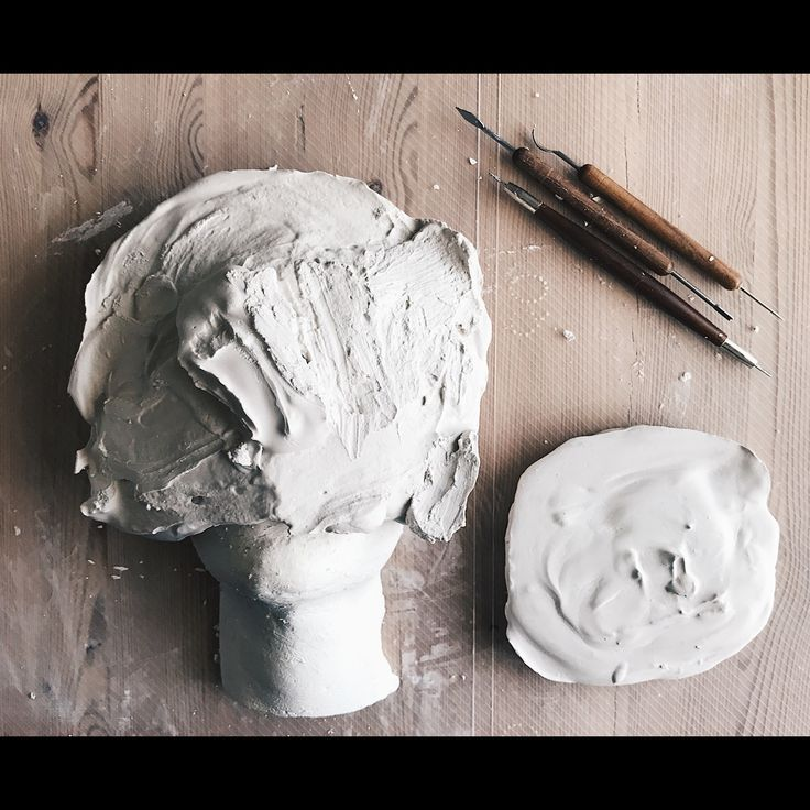 Sculpting, for a prosthetic. Sfx makeup. Sculpt covered in plaster, ready to set for 24 hours. We will have a + and a - mold! By; @synnepr (instagram)