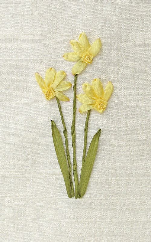 Daffodils card silk ribbon embroidery by bstudio on Etsy
