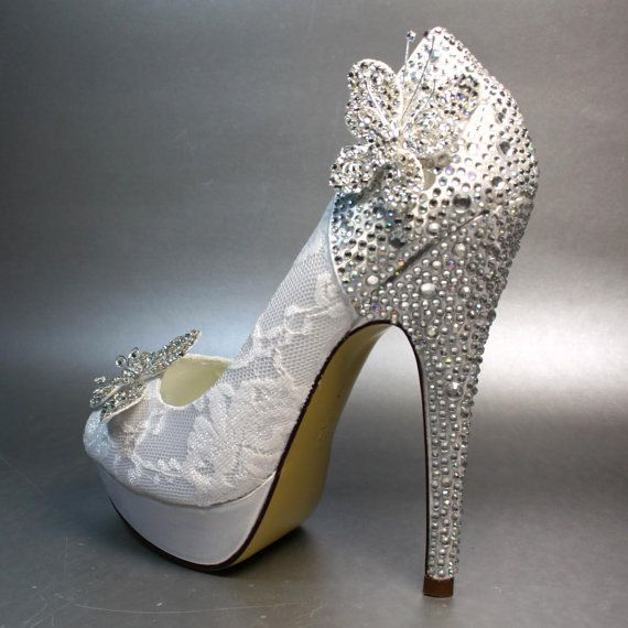 Wedding Shoes White Platform Peeptoe With Silver Crystals On Heel And Silver Crystal