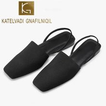KATELVADI Women Sandals Mules Summer Casual Shoes Black Flats Back Strap Ladies Flip Flops Beach Sandals K-452