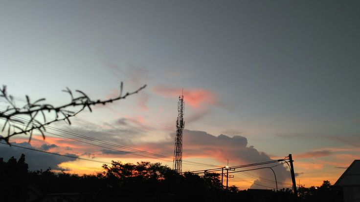Sunset from small city in Indonesia