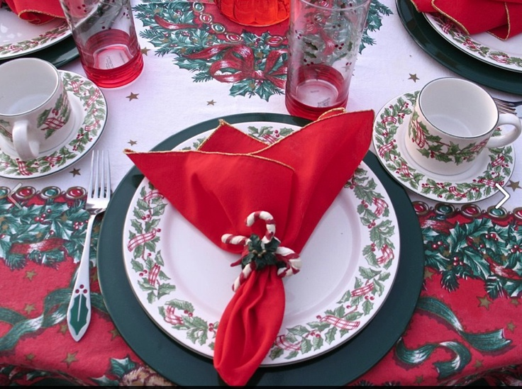 Candy cane napkin rings with Holly accents.