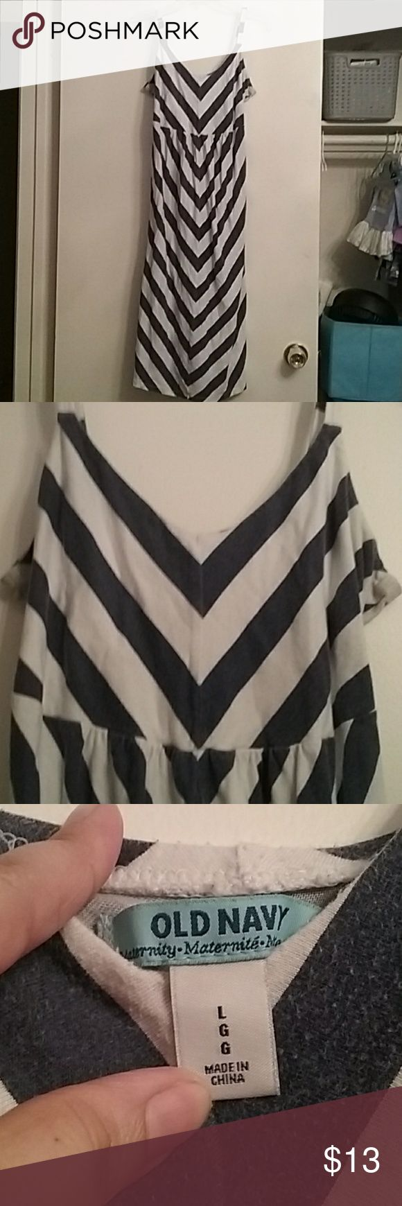 Old Navy maternity dress. Size L Old Navy blue and white maternity dress. Size L. This dress was so incredibly comfortable and so forgiving. I loved this dress. Perfect for the spring/summer Old Navy Other