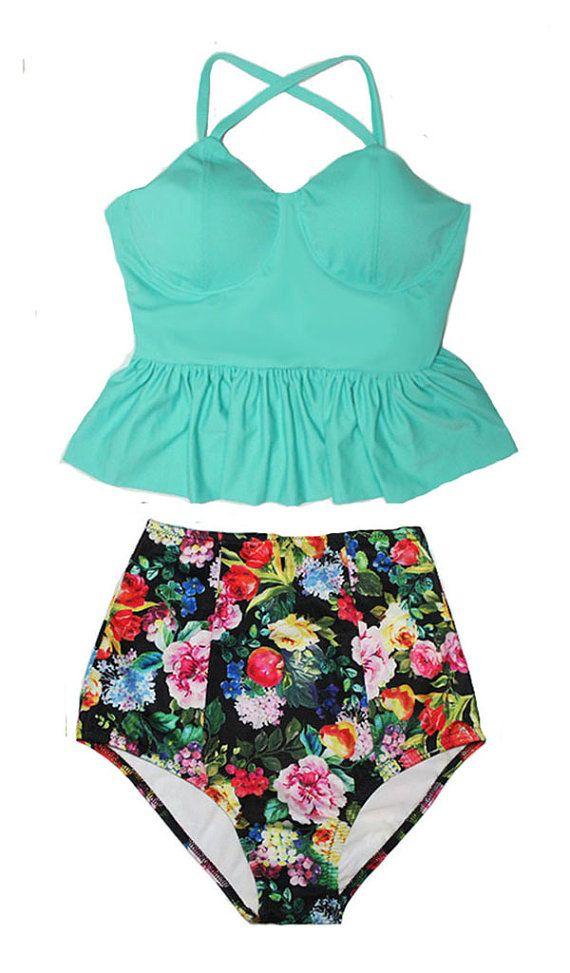Mint Long Peplum Tankini Tankinis Top and Flora Vintage High Waisted Waist Bottom Swimsuit Swimwear Swimsuits Bath suit suits set S M L XL
