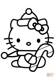 Cute Christmas Hello Kitty W Candy Cane Coloring Pages Free Printable