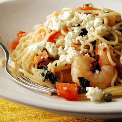 Mediterranean shrimp and pasta (424 calories for 1 and a 1/2 cups of pasta and 1 tbsp of cheese)