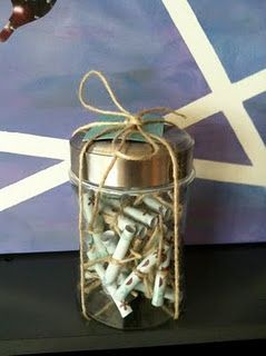 A jar with scripture verses ~ can give to a friend who needs a little something to get through a day, week, or month!