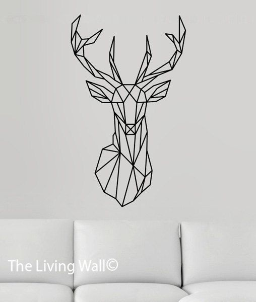 Geometric Deer Head Wall Decals, Geometric Animals Wall Sticker, Deer Head  Vinyl Wall Sticker, Australian Made