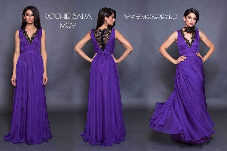 Long evening gown made of purple triple veil, with black lace inserts - the perfect dress for a perfect appearance: https://missgrey.ro/ro/produse-noi/rochie-sara-mov/313?utm_campaign=colectie_aprilie&utm_medium=sara_mov&utm_source=pinterest_produs