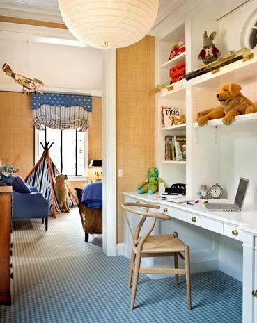 kid workspace, grasscloth.  g.p. shafer architects.