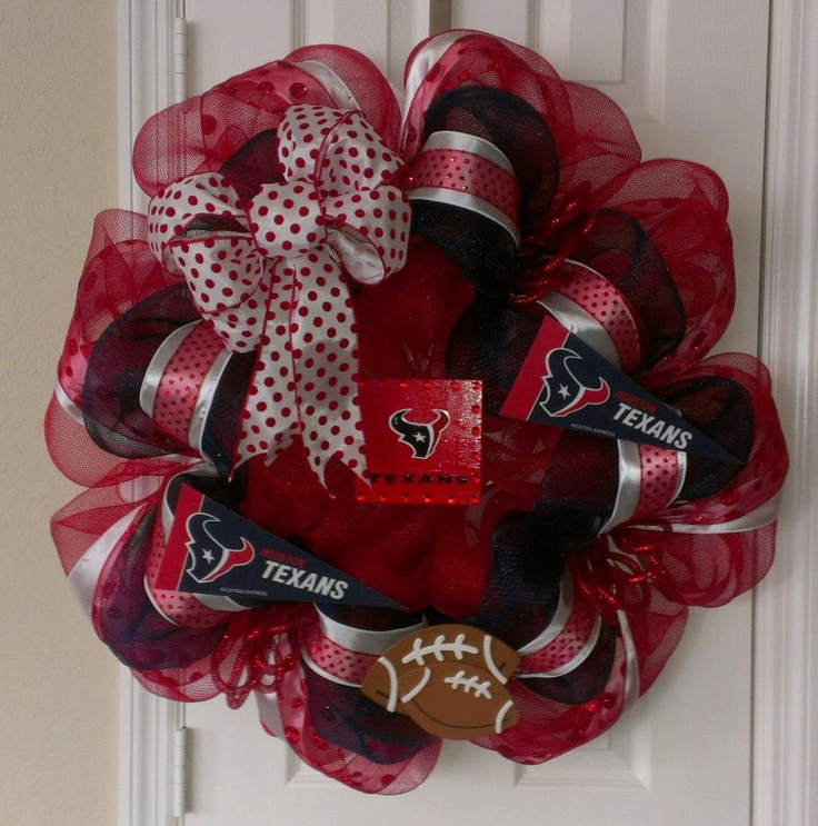 Houston Texans Deco Mesh Wreath. $80.00, via Etsy.