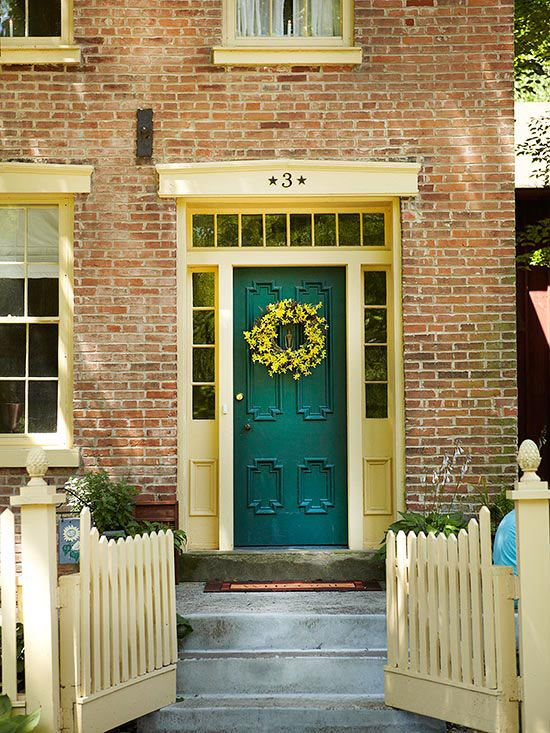 I am thinking about sprucing up our front door and I love this idea of adding signature details to a door with molding + bright paint color. Better Homes and Gardens #SicEm: Green Doors, The Doors, Front Doors Colors, Brick, Entry Lights, Front Entry, House, Teal Front Doors, Teal Doors