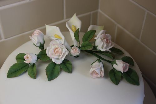 Handmade sugar flower bouquet topper - roses and calla lily