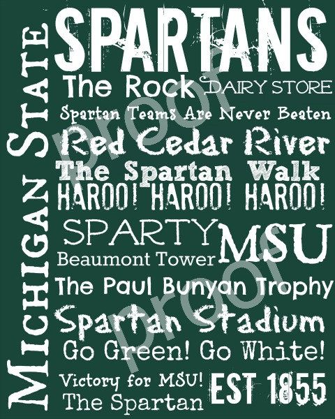 Michigan State Spartans Subway Art Print 11x14 ($18 value) - Donated by TheFreckledCrayon @etsy