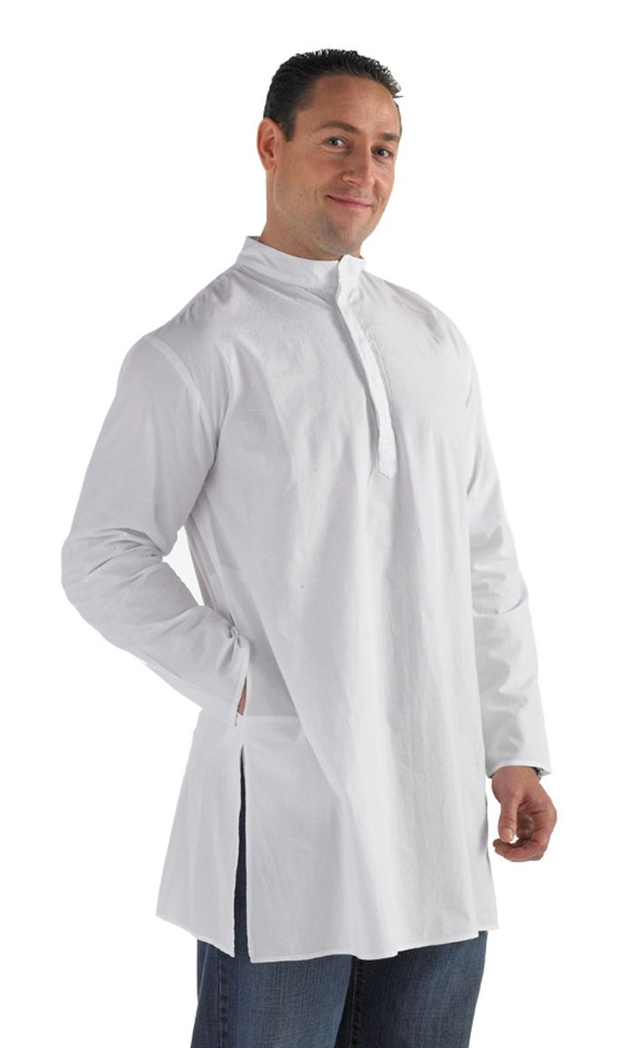 This men's Kurta tunic is a crossover of ethnic simplicity and modern confidence! Short collar, buttons front neck to chest and side pockets. Fabric: 100% Cotton Poplin