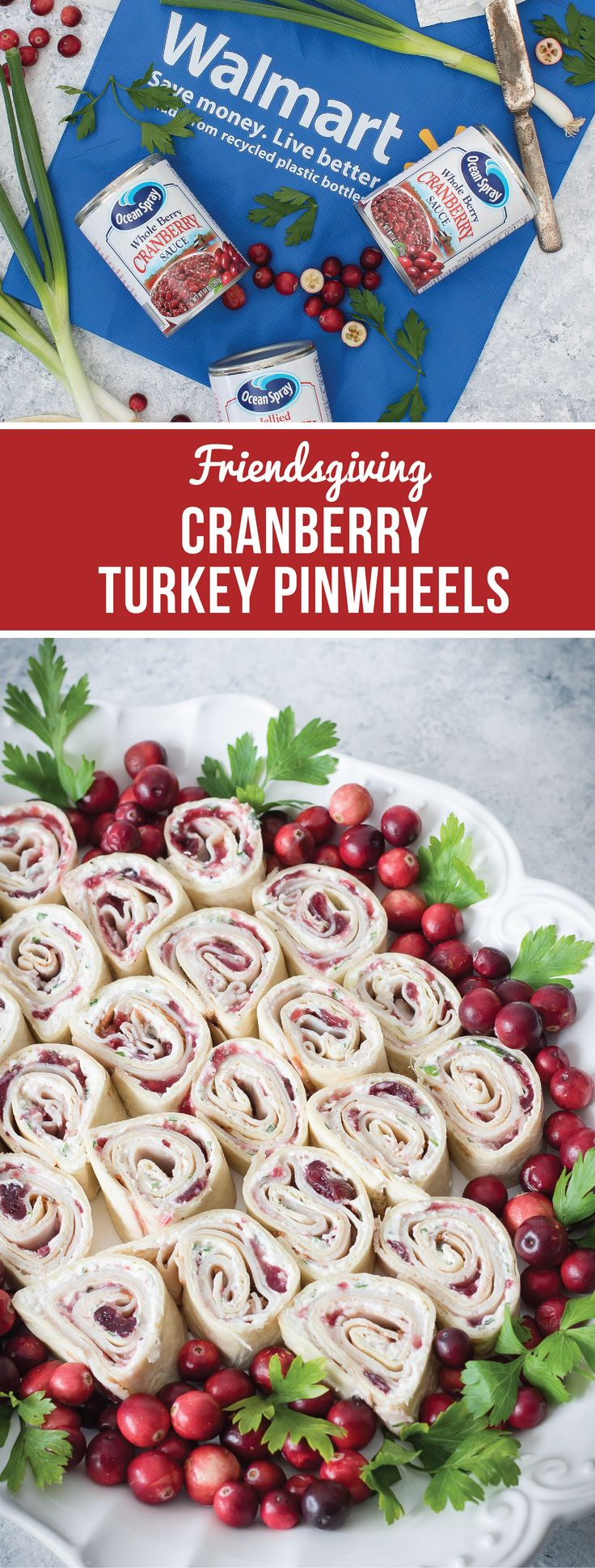 For swirls of holiday flavor perfection, check out this recipe for Cranberry Turkey Pinwheels. Ocean Spray® Whole Berry Cranberry Sauce, fresh sliced cajun turkey breast, cream cheese, and scallions combine to create the perfect holiday appetizer for your Friendsgiving celebration. To get ready for your foodie fall celebration, pick up all the ingredients and entertaining essentials you need at Walmart!