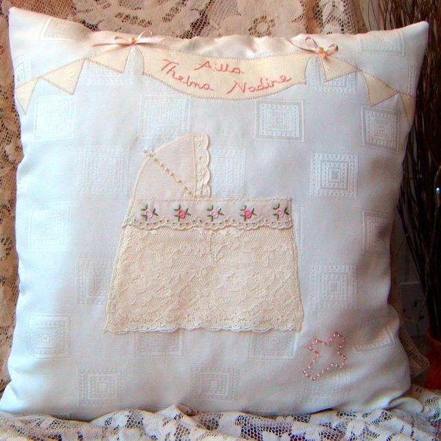 Heritage Christening Cushion, Personalised £32.00