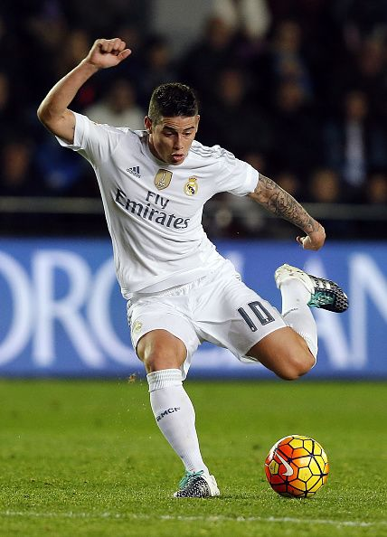 James Rodriguez of Real Madrid in action during the La Liga match between Villarreal CF and Real Madrid CF at El Madrigal on December 13 2015 in...