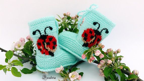 Hand knit baby booties Baby shoes knit Knitted baby by Decabria