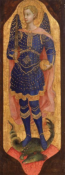 Saint Michael -- 1424-1425 -- Fra Angelico -- Italian -- Tempera and gold leaf on wood -- Collection Dr. Rau -- Köln, Germany