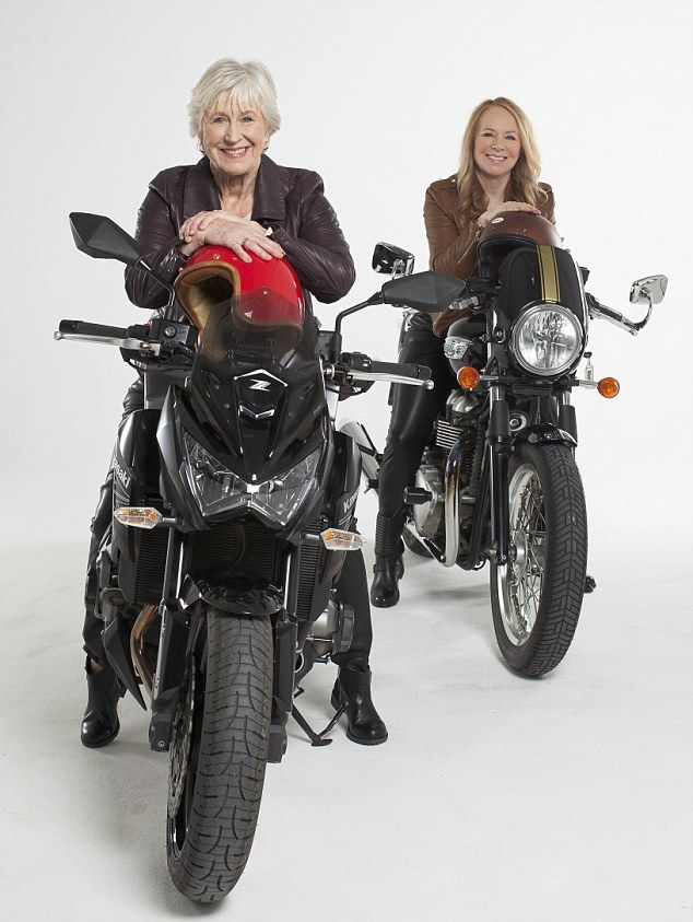 Joy Smith (left) and Christine Langton (right) both took up riding motorbikes later in life. Read more about the huge increase in women riders at http://www.dailymail.co.uk/femail/article-2954676/As-sales-motorbikes-soar-women-60-whats-remarkable-rise-blue-rise-bikers.html