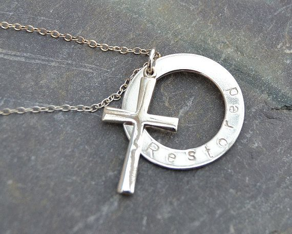 Embrace range Silver washer and cross with Restored stamped Please contact me if your would like a different word stamped